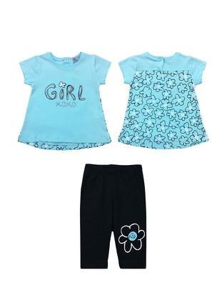 Floral - Crew neck - Cotton - Unlined - Blue - Baby Suit