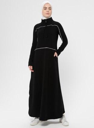 Black - Polo neck - Unlined - Cotton - Dress