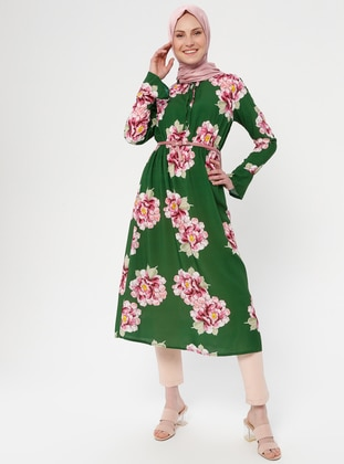 Green - Floral - Crew neck - Viscose - Tunic