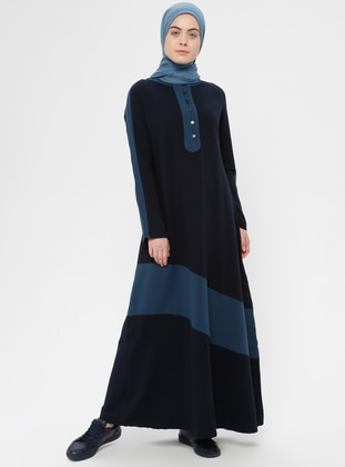 Blue - Navy Blue - Crew neck - Unlined - Cotton - Dress