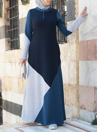 Navy Blue - Indigo - Crew neck - Unlined - Cotton - Dress