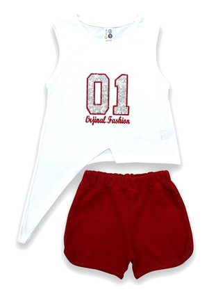 Crew neck - Cotton - Unlined - Red - Girl Suit