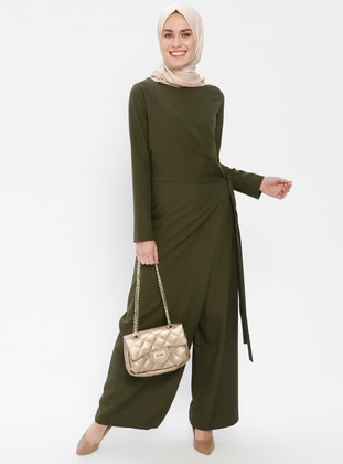 Khaki - Unlined - Crew neck - Jumpsuit