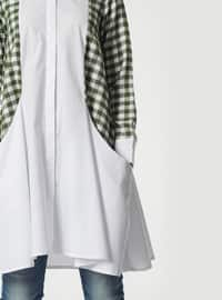Green - Plaid - Button Collar - Tunic