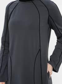 Anthracite - Crew neck - Unlined - Cotton - Dress