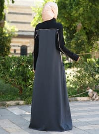 Black - Salmon - Polo neck - Unlined - Cotton - Dress