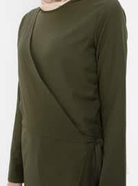 Khaki - Unlined - Crew neck - Jumpsuit