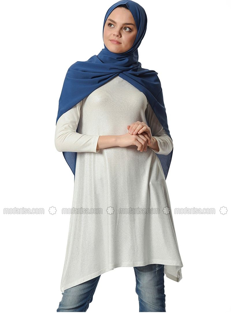 Ecru - Crew neck - Viscose - Tunic