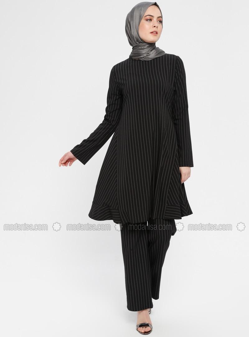 Black - Stripe - Unlined - Suit