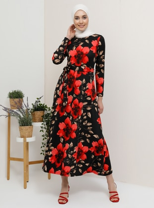 9388aecf061 Red - Floral - Crew neck - Unlined - Dress