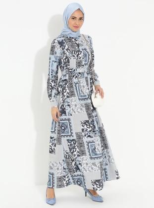 Blue - Multi - Point Collar - Unlined - Cotton - Dress