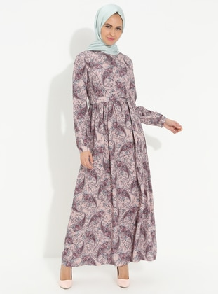 Multi - Polo neck - Unlined - Cotton - Dress