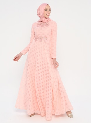 Powder - Fully Lined - Crew neck - Muslim Evening Dress