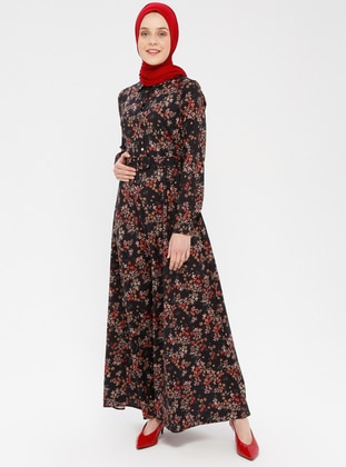 Red - Black - Multi - Polo neck - Unlined - Cotton - Dress