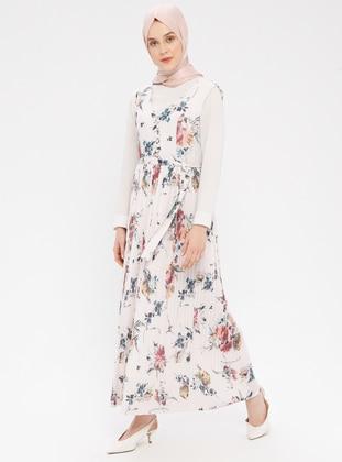 White - Ecru - Multi - V neck Collar - Fully Lined - Dress