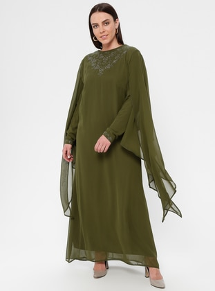 Khaki - Crew neck - Fully Lined - Muslim Plus Size Evening Dress
