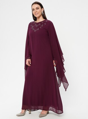 Plum - Crew neck - Fully Lined - Muslim Plus Size Evening Dress
