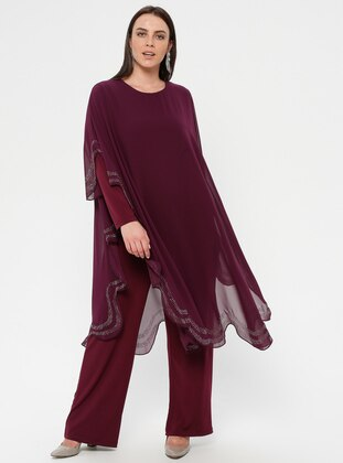 Plum - Unlined - Crew neck - Muslim Plus Size Evening Dress - Simetrik Moda