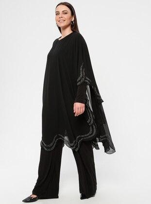 Black - Unlined - Crew neck - Muslim Plus Size Evening Dress - Simetrik Moda