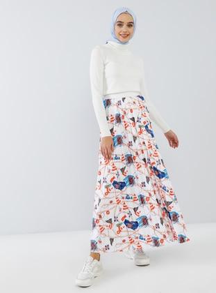 White - Multi - Unlined - Skirt