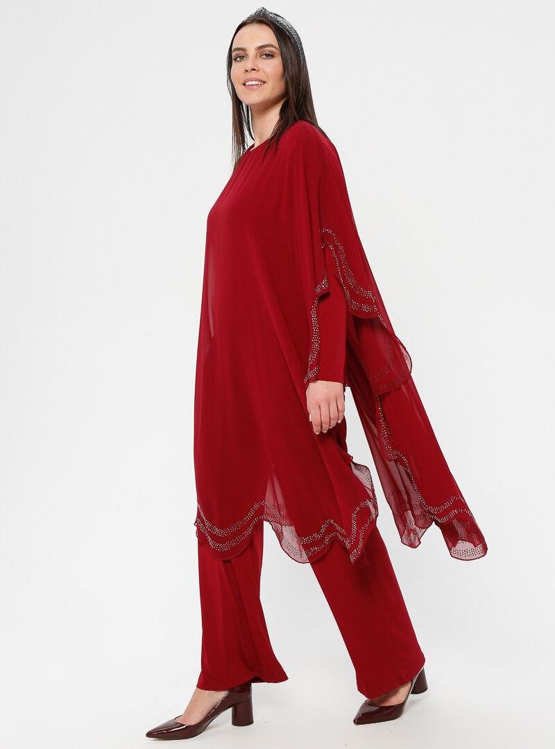 Tesettür Büyük Beden Abiye Elbise Simetrik Moda Kırmızı Bordo Kadın 42