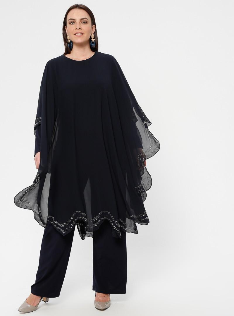 Tesettür Büyük Beden Abiye Elbise Simetrik Moda Lacivert Kadın 42