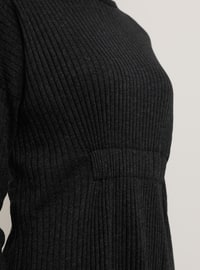 Anthracite - Crew neck - Cotton - Tunic