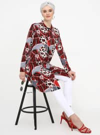 Maroon - Multi - Point Collar - Tunic