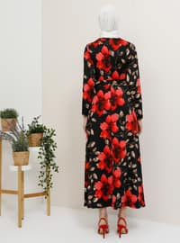 Red - Floral - Crew neck - Unlined - Dress