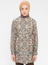 Khaki - Multi - Polo neck - Tunic