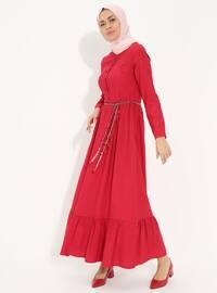 Kırmızı - Çin yakası - Astarsız - Pamuklu - Elbise