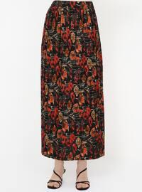 Black - Orange - Floral - Unlined - Skirt