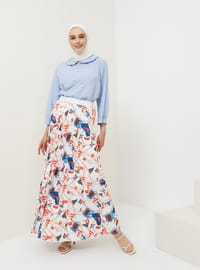 White - Multi - Unlined - Skirt