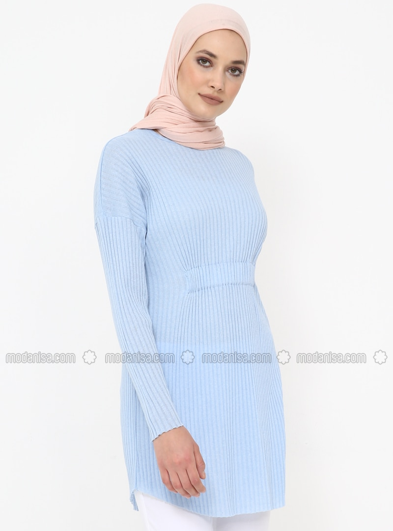Baby Blue - Crew neck - Cotton - Tunic
