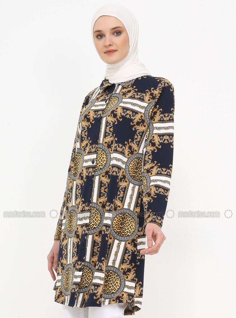 Navy Blue - Multi - Point Collar - Tunic