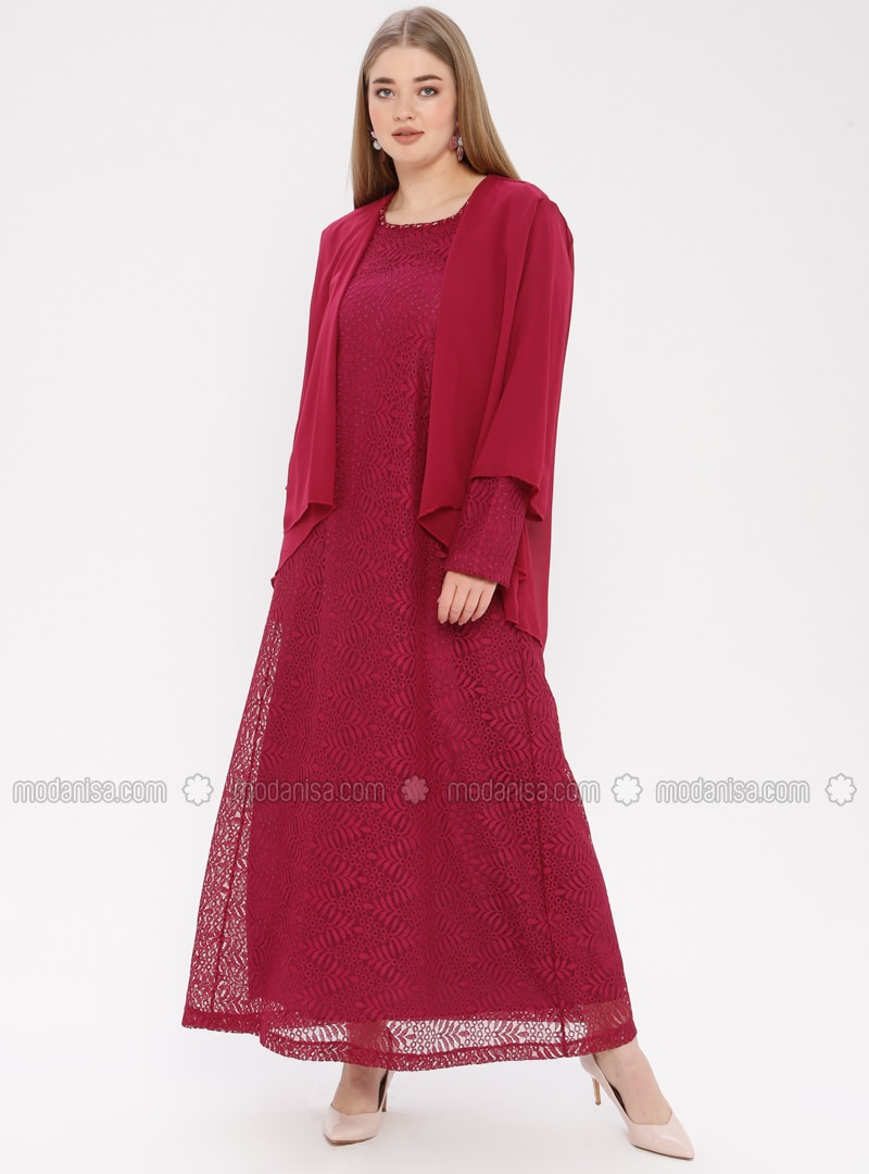 Pink - Fuchsia - Fully Lined - Crew neck - Muslim Plus Size Evening Dress