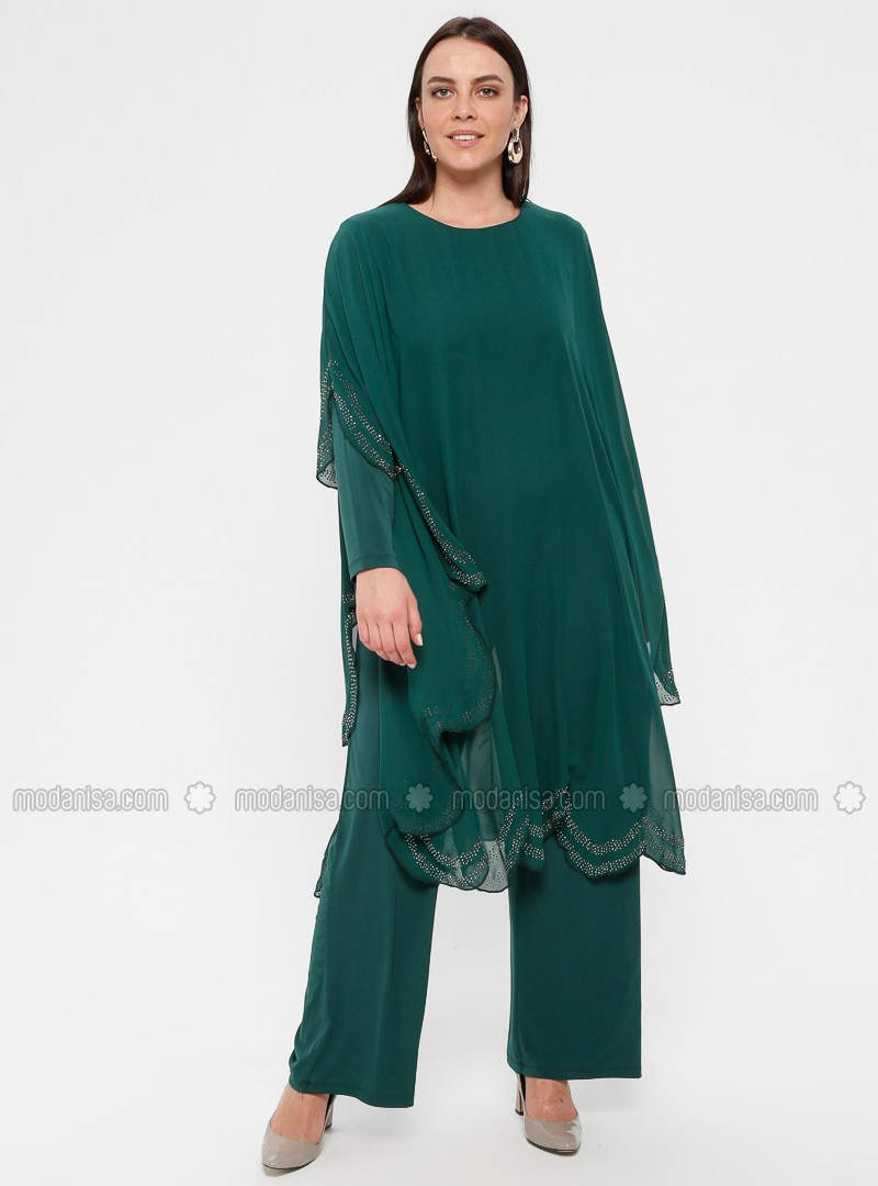Green - Emerald - Unlined - Crew neck - Muslim Plus Size Evening Dress