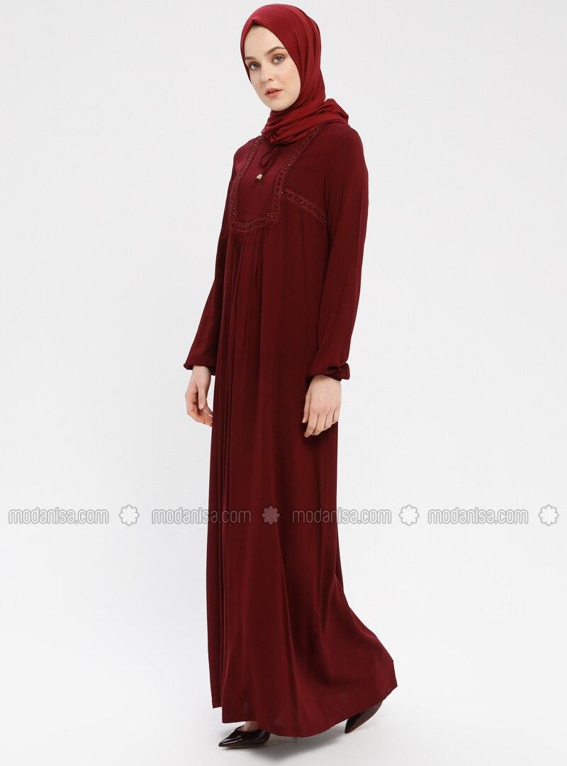 Maroon - Unlined - Viscose - Dress
