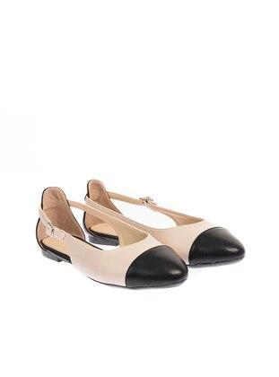 Black - Beige - Flat - Flat Shoes