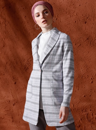 Gray - Plaid - Unlined - Shawl Collar - Cotton - Jacket