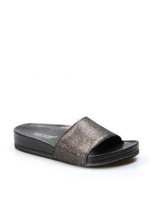 Anthracite - Metallic - Sandal - Slippers
