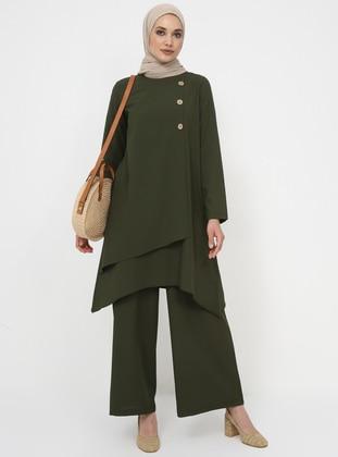 Khaki - Unlined - Suit - Tavin