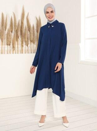 Stony Collar Asymmetric Tunic - Indigo