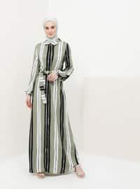 Green Almond - Stripe - Point Collar - Unlined - Viscose - Dress