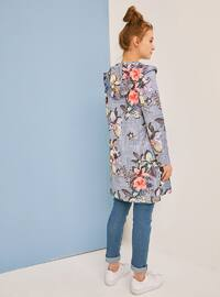 Blue - Floral - Unlined - Trench Coat