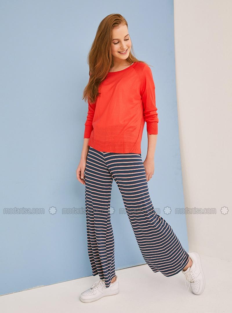 febb018eb4050e Red - Navy Blue - Stripe - Cotton - Pants. Fotoğrafı büyütmek için tıklayın