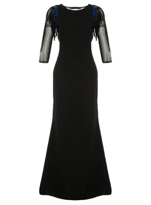 Black - Saxe - Unlined - Crew neck - Muslim Evening Dress