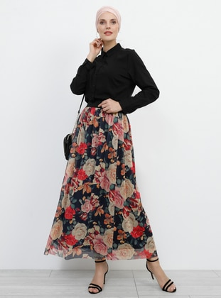Red - Powder - Floral - Fully Lined - Skirt