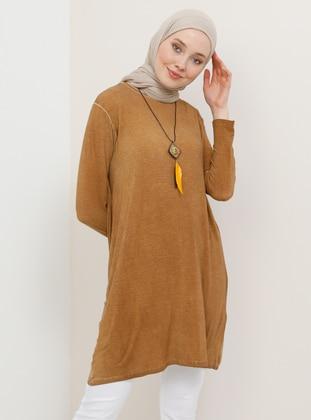 Camel - Crew neck - Viscose - Tunic