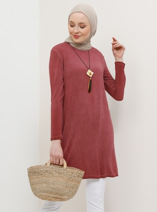 Cherry - Crew neck - Viscose - Tunic